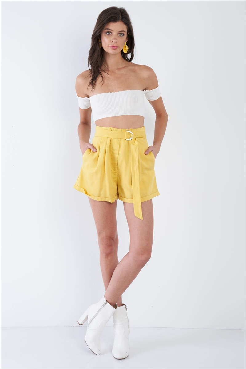 Banana Yellow High Waist Tie Sash Pleated Cuffed Hem Mini Shorts