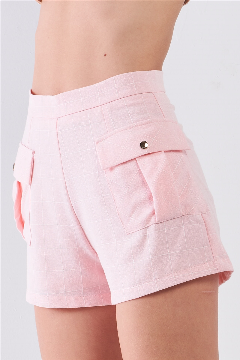 Light Pink Checkered High-Waisted Side Cargo Pockets Shorts