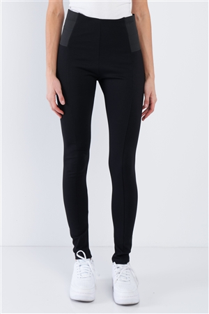 Black High Waist Elastic Waist Basic Ankle Length Leggings