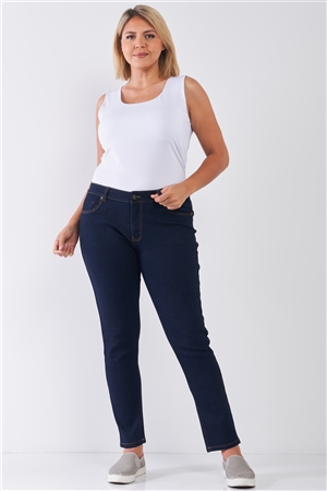 Junior Plus Dark Blue Denim Mid-Rise Skinny Jeans /1-2-3-3-2-1