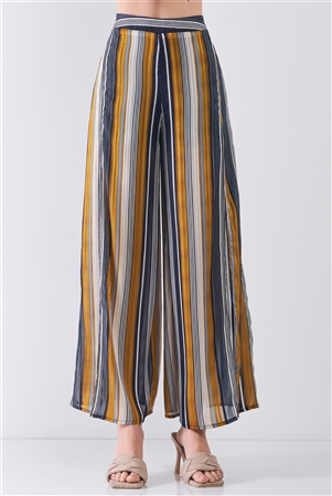 Navy Multicolor Striped Glitter Stitching High Waist Thigh-High Side Slit Detail Wide Leg Pants /3-2-1