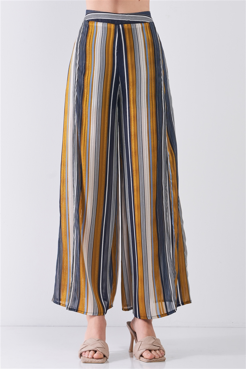 Navy Multicolor Striped Glitter Stitching High Waist Thigh-High Side Slit Detail Wide Leg Pants