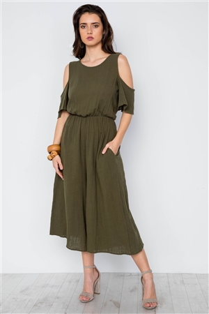 Olive Cold Shoulder Capri Boho Jumpsuit