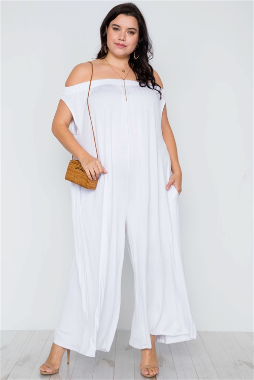 White Off-The-Shoulder Loose Fit Jumpsuit