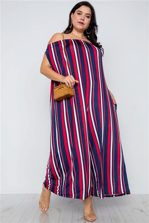 Plus Size Navy Red Off-The-Shoulder Stripe Jumpsuit