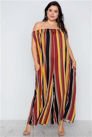 Mustard Brown Off-The-Shoulder Stripe Jumpsuit