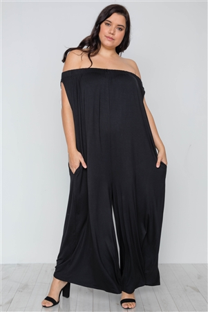 Plus Size Black Basic Off-The-Shoulder Jumpsuit