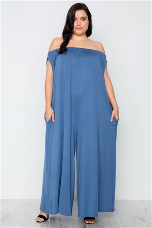 Plus Size Denim Blue Basic Off-The-Shoulder Jumpsuit
