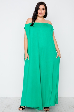 Plus Size Kelly Green Basic Off-The-Shoulder Jumpsuit