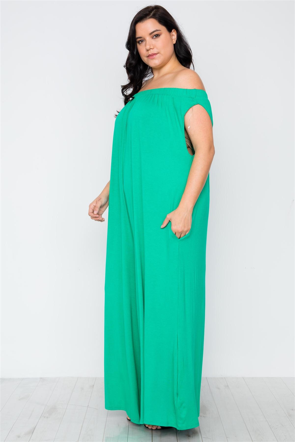Plus Size Kelly Green Basic Off-The-Shoulder Jumpsuit / 2-2-2