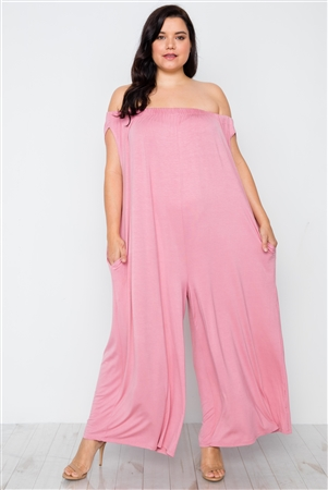 Plus Size Mauve Basic Off-The-Shoulder Jumpsuit