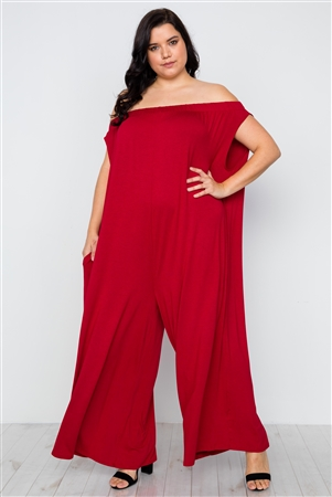 Plus Size Red Basic Off-The-Shoulder Jumpsuit