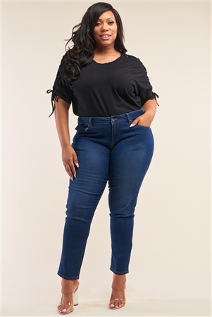 Plus Size Medium Blue Low-Mid Rise Straight Cut Denim Pants