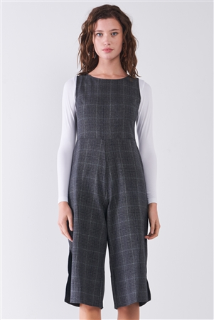 Dark Grey Preppy Sleeveless Glen Check Print Round Neck Slit Detail Wide Leg Midi Jumpsuit /2-2-2