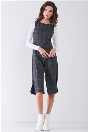 Dark Grey Preppy Sleeveless Glen Check Print Round Neck Slit Detail Wide Leg Midi Jumpsuit