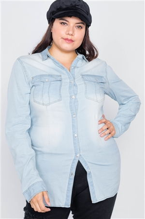Plus Size Light Wash Denim Button Down Long Sleeve Top