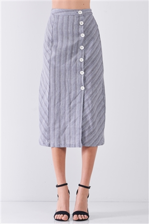 Blue-Grey Striped High Waist Side Button-Down Trim Slit Detail Pencil Fit Linen Midi Skirt /3-2-1