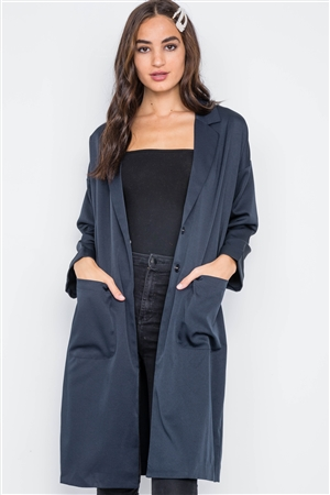 Navy Lightweight Longline Button Front Jacket