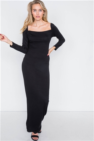 Black Open-Back Ribbed Black Maxi Dress