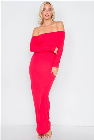 Red Open-Back Ribbed Black Maxi Dress