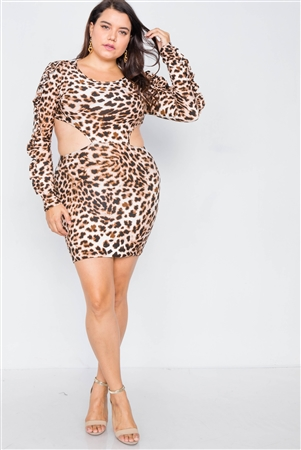 Plus Size Leopard Cut-Out Mini Dress