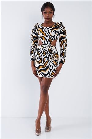 Yellow Zebra Cut-Out Flounce Sleeve Trim Mini Dress