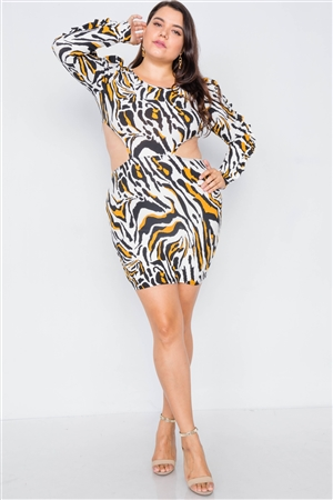 Plus Size Zebra Yellow Print Cut-Out Mini Dress