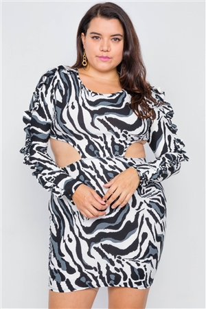 Plus Size Zebra Print Cut-Out Mini Dress