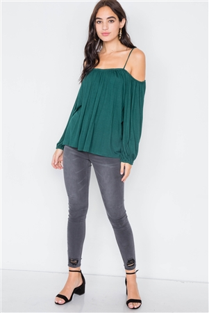 Heather Green Off-The-Shoulder High-Low Relaxed Fit Belle Sleeve Top