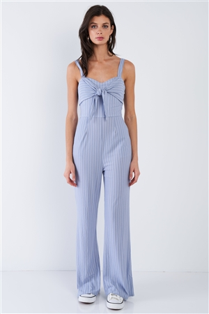 Powder Blue & White Stripe Front and Back Bow Cotton Wide Leg Jumpsuit