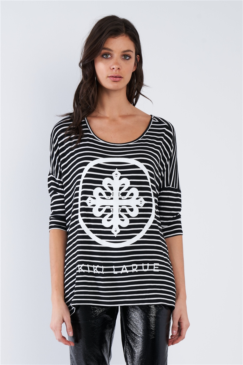 "Black White Stripe Scoop Neck Relaxed Fit ""KIKI LARUE"" Top"