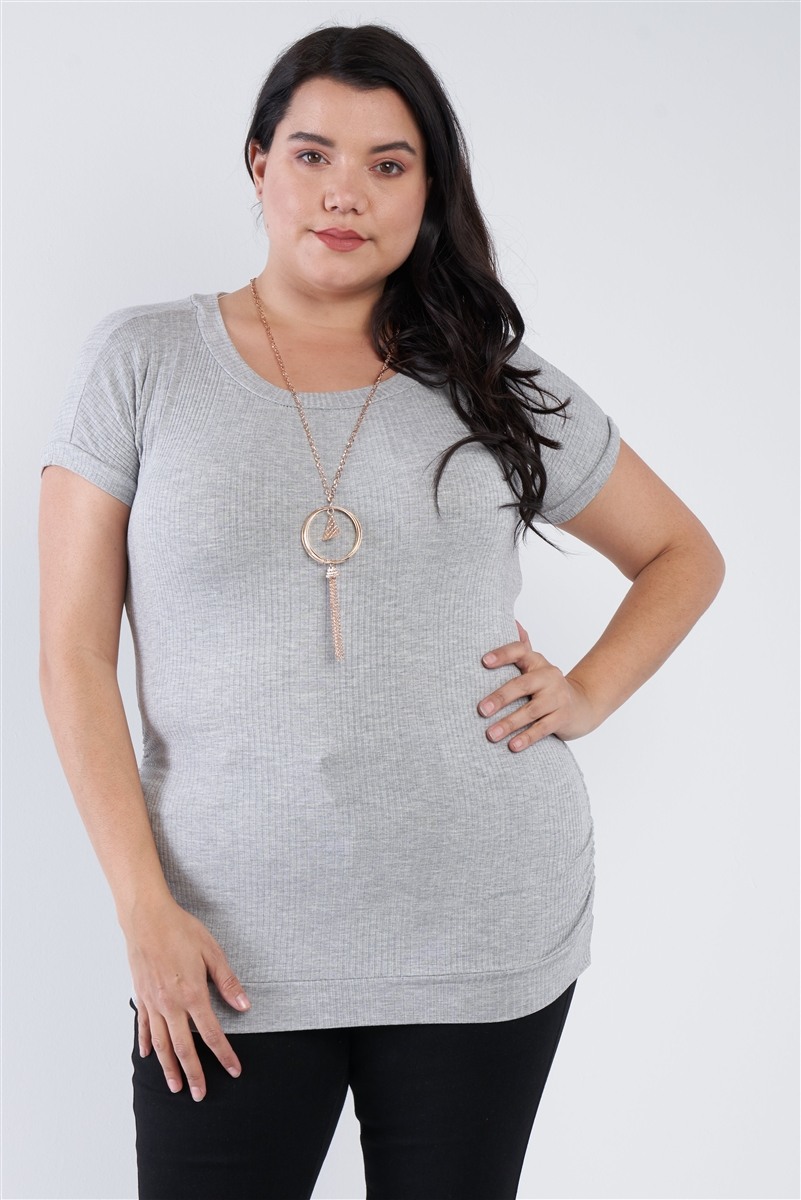 Junior Plus Size Grey Short Sleeve Scoop Neck Side Ruched Top