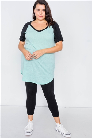 Plus Size Mint & Black Washed Round Hem Shirt Dress