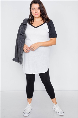 Plus Size White & Black Washed Round Hem Shirt Dress