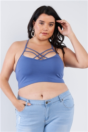 Junior Plus Size Blue Criss Cross Front Open Back Cami Strap Athletic Lounge Bra