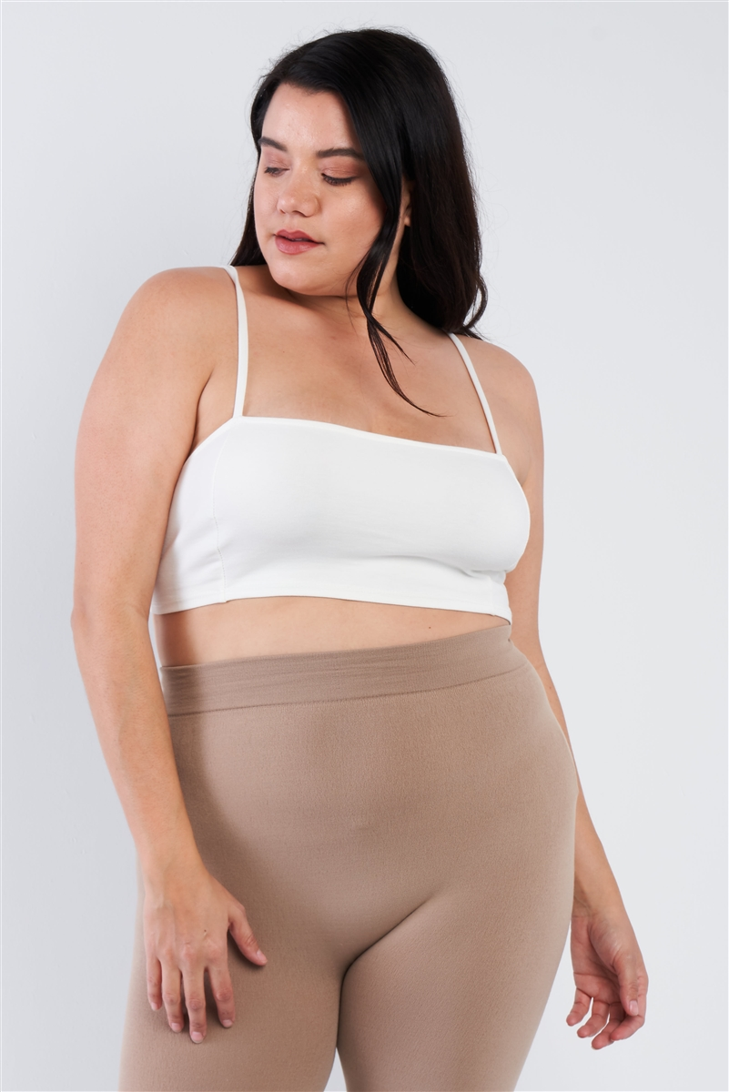 Plus Size Cream White Open Stripe Back Cami Strap Athletic Lounge Bra