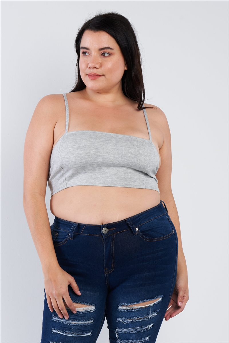 Plus Size Grey Open Stripe Back Cami Strap Athletic Lounge Bra