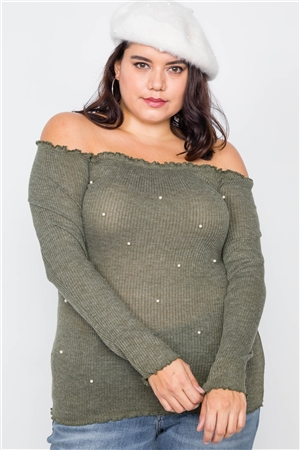 Plus Size Olive & Pearl Ribbed Scallop Hem Off-The-Shoulder Top