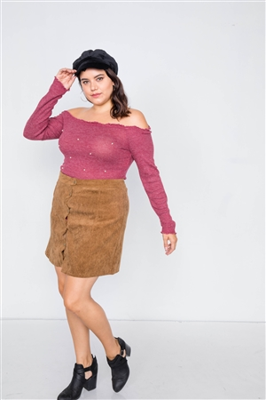 Plus Size Wine & Pearl Ribbed Scallop Hem Off-The-Shoulder Top