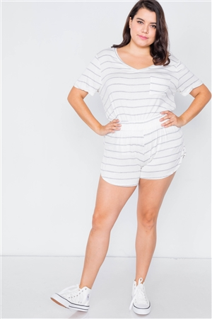 Plus Size White & Grey Rolled Short Sleeve Stripe Comfy Short Set