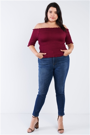 Plus Size Burgundy Off The Shoulder Top