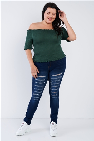 Plus Size Off The Shoulder Hunter Green Top