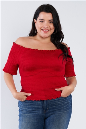 Plus Size Off The Shoulder Red Top