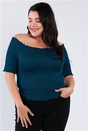 Plus Size Off The Shoulder Teal Top