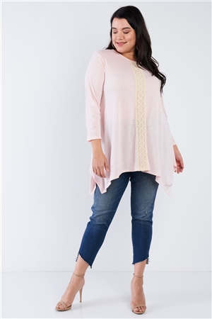 Junior Plus Size Blush Lace Embroidered Long Sleeve Top /1-2-2