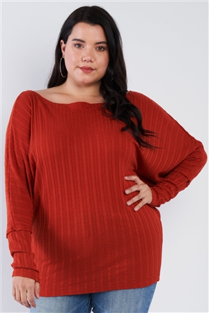 Junior Plus Size Bat Wing Rust Orange Knit Sweater Top