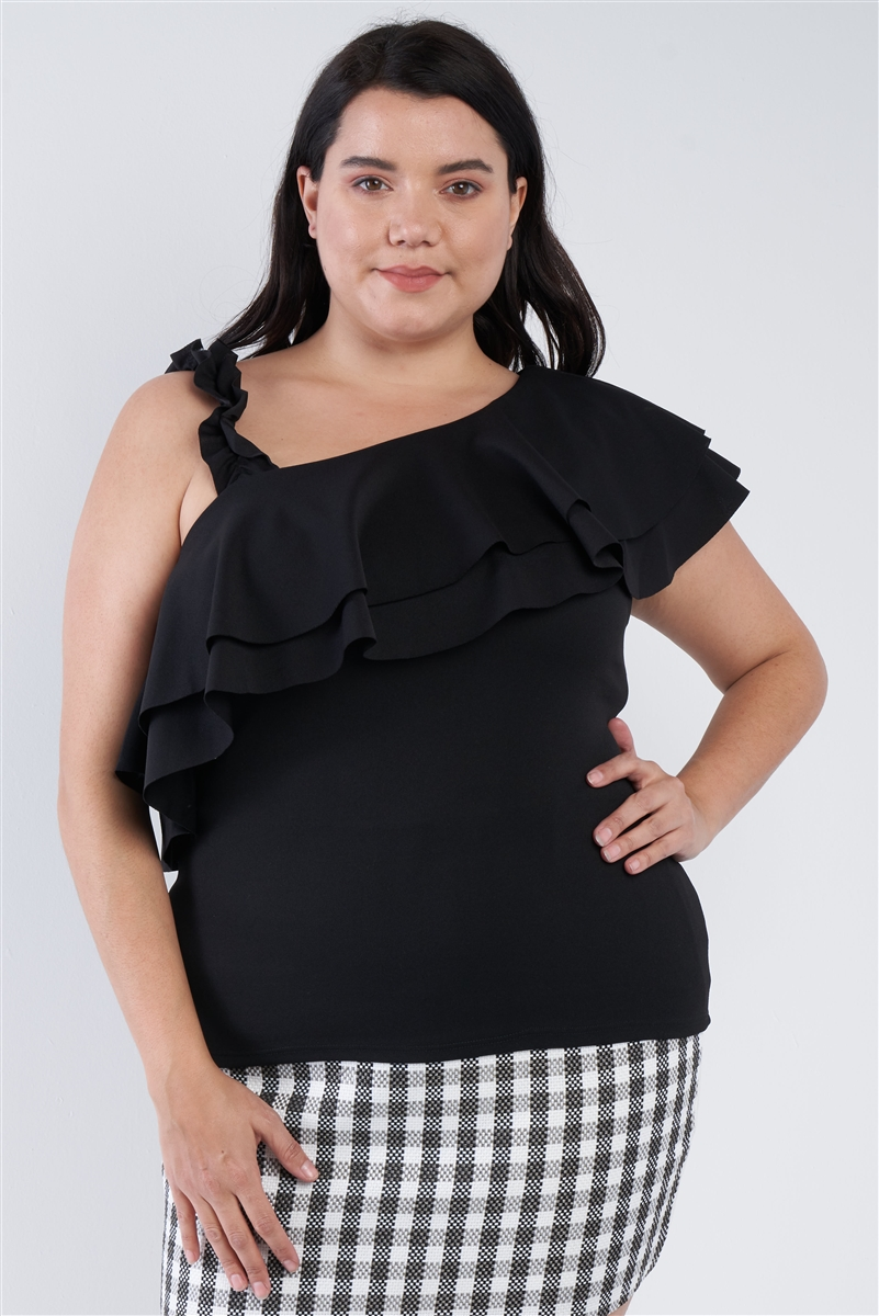Junior Plus Size Black Off The Shoulder Ruffle Top