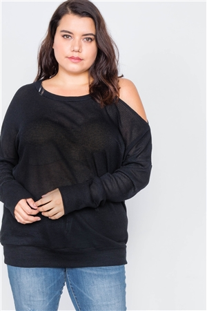 Plus Size Sheer Black Cotton Could Shoulder Sweater