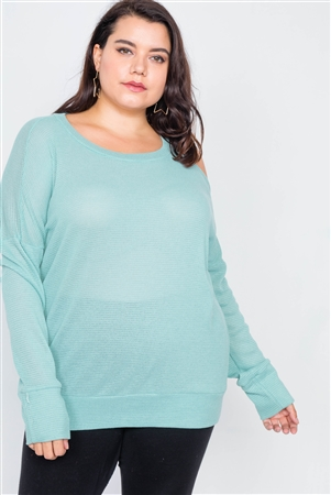 Plus Size Sheer Mint Cotton Could Shoulder Sweater