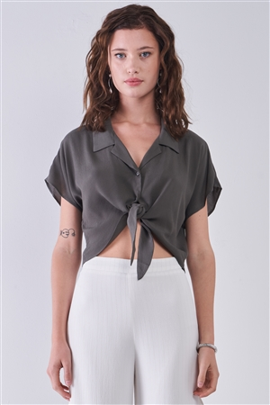 Olive Collared Short Sleeve Self-Tie Front Cropped Top /3-2-1